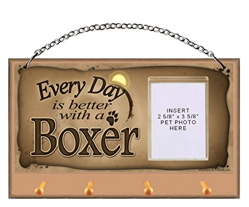 DGS Originals Boxer Every Day is Better with a Boxer Key and Leash Holder Featuring Clear Pocket to Insert Your Photo