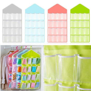 16 Pockets Clear Over Door Hanging Bag Shoe Rack Hanger Storage Organizer Holder - Holder Organizer