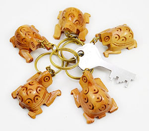 A Set of 5 Hand Carved Wooden Turtle Key Ring,keychain,wood Key Holder Keychain