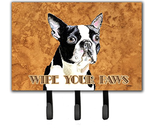 Caroline's Treasures SC9140TH68 Boston Terrier Wipe Your Paws Leash or Key Holder, Large, Multicolor
