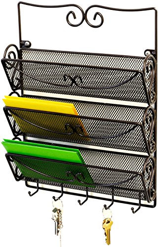 DecoBros Wall Mount 3 Tier Letter Rack Organizer w/Key Holder, Bronze
