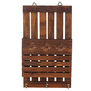 Fine Craft India Wooden Key and Letter Holder Striped Design, Brown Color Key Hangers, Used for Gift to Loved Ones Height - 10 inch