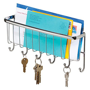 InterDesign Axis Mail Holder and Key Rack - Wall Mounted Letter Organizer and 6 Key Hooks for Entryway or Kitchen, Chrome