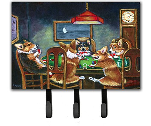 Caroline's Treasures Corgi Playing Poker Leash or Key Holder 7416TH68, Triple, Multicolor