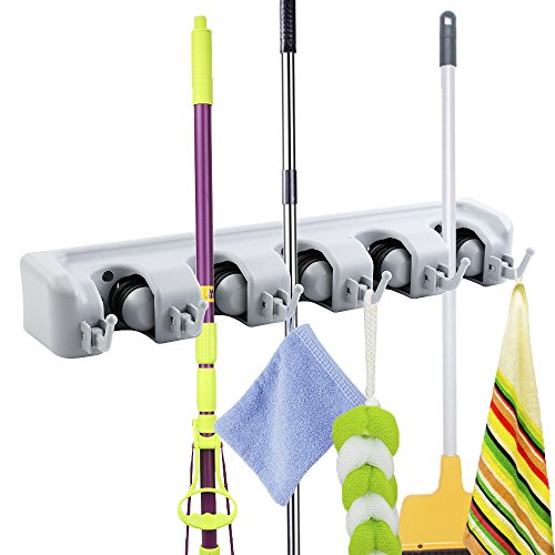Broom Organizer Mop Holder Wall Mount Garden Tools Organizer Space-Saving Non-Slip Never Fall Off Hanger Rack in Kitchen, Garage, Outdoor Yard (5 Slots 6 Hooks)