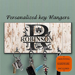 Beige personalized Key Holder for wall,Custom monogram Key Hanger,Personalized Key rack, shabby chic style, Housewarming Gift, Anniversary Gift, Last name key organizer,Family key hanger,Wedding gift