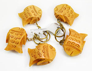 A Set of 5 Hand Carved Wooden Fish Key Ring,keychain,wood Key Holder Keychain