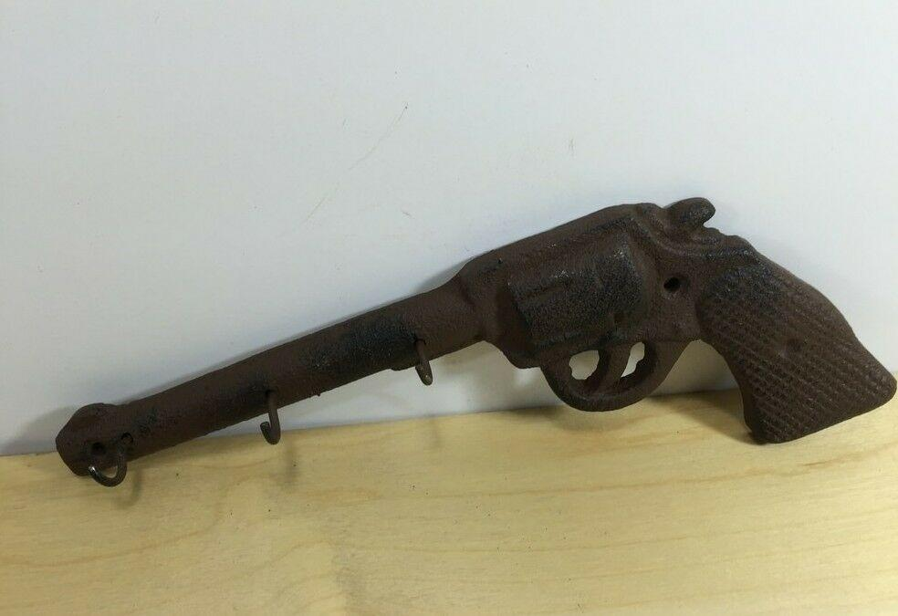 Rustic Americana Iron Gun Pistol Key Holder 3 Hook Wall Mounted Western Decor