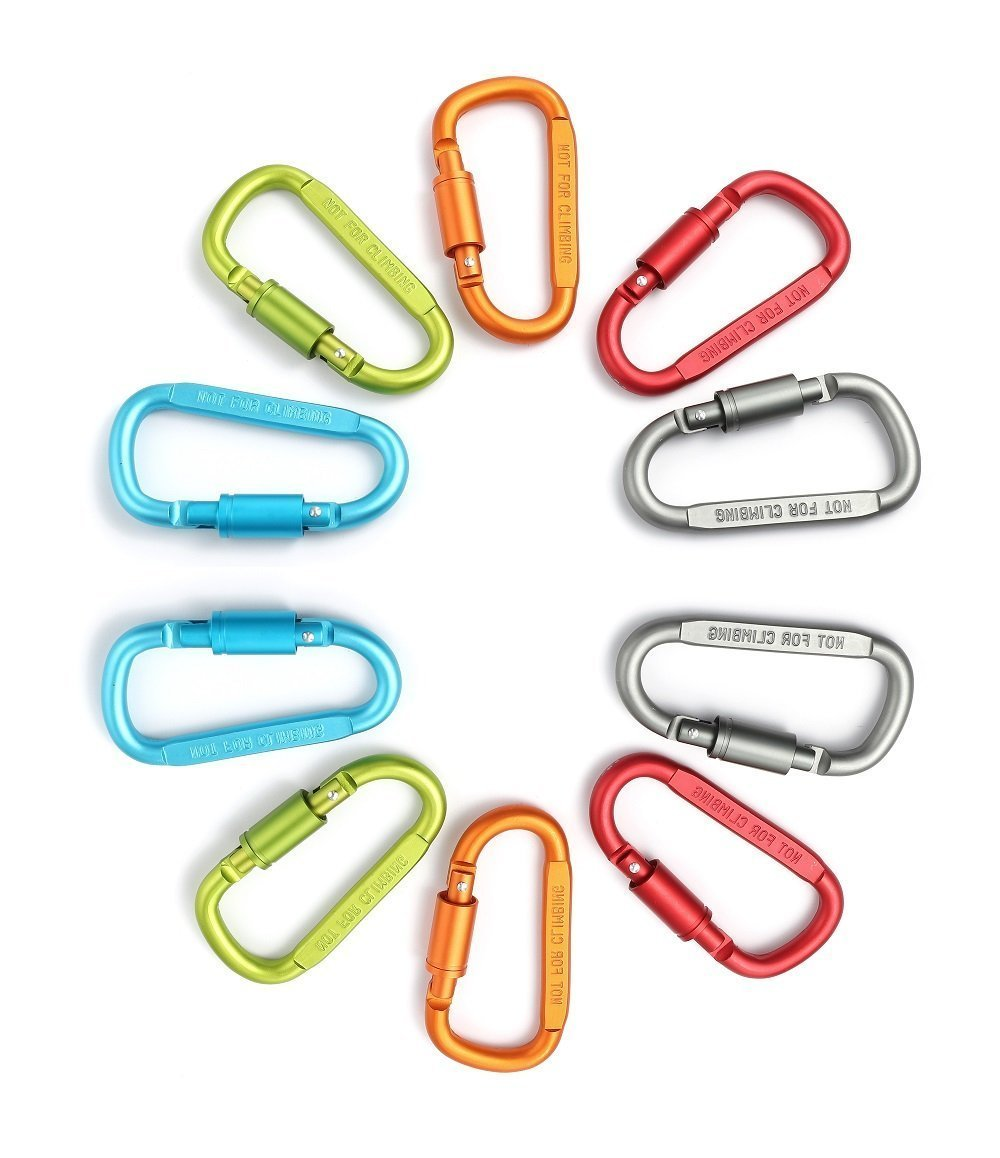 Drayas Aluminum Carabiner D Shape Buckle Pack, Keychain Clip, Spring Snap Key Chain Clip Hook Screw Gate Buckle 10Pcs (Multicolor-10PCS)
