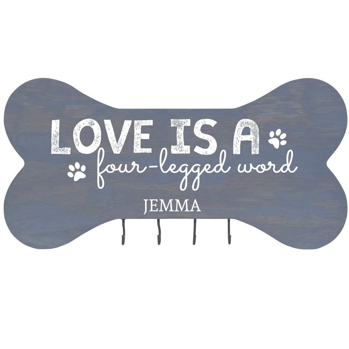 Personalized Dog Bone Sign With Hooks - Love Is A