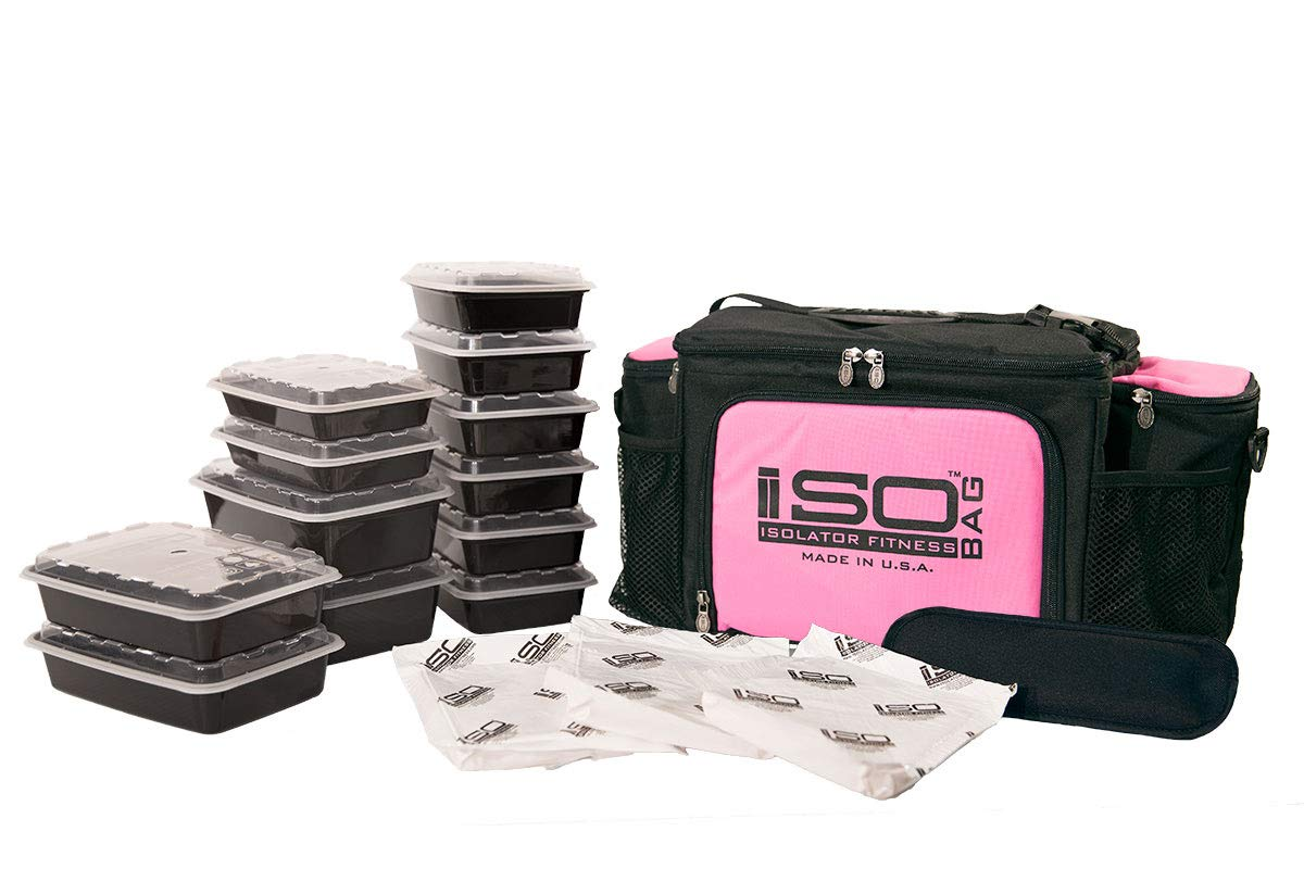 Isolator Fitness 6 Meal ISOBAG Meal Prep Management Insulated Lunch Bag Cooler with 12 Stackable Meal Prep Containers, 3 ISOBRICKS, and Shoulder Strap - MADE IN USA (Black/Pink Accent)