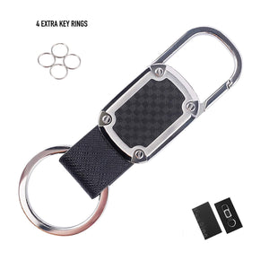 Car Key Chain Detachable Carabiner Key Chain Rings Stainless Steel Heavy Duty Leather Key Holder Organizer Home Car Keychain Clip Hook Best Gift for Business Men and Women with 4 Extra Key Rings