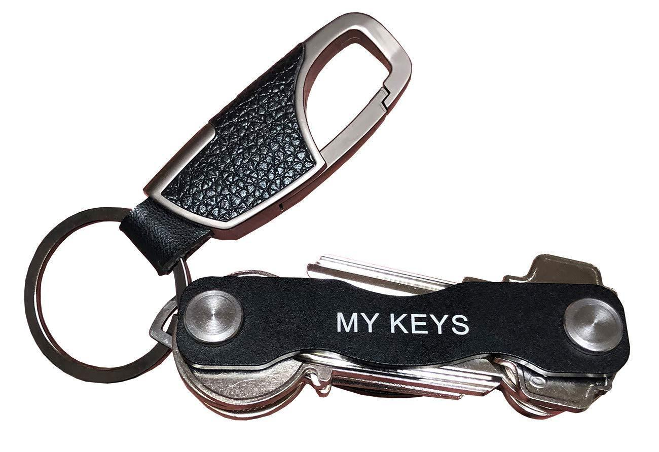 Smart Compact Key Holder with Keychain Bundle - Key Pocket Organizer for Up to 10 Keys - Smart Key Organizer with Secure Locking Mechanism with Keychain