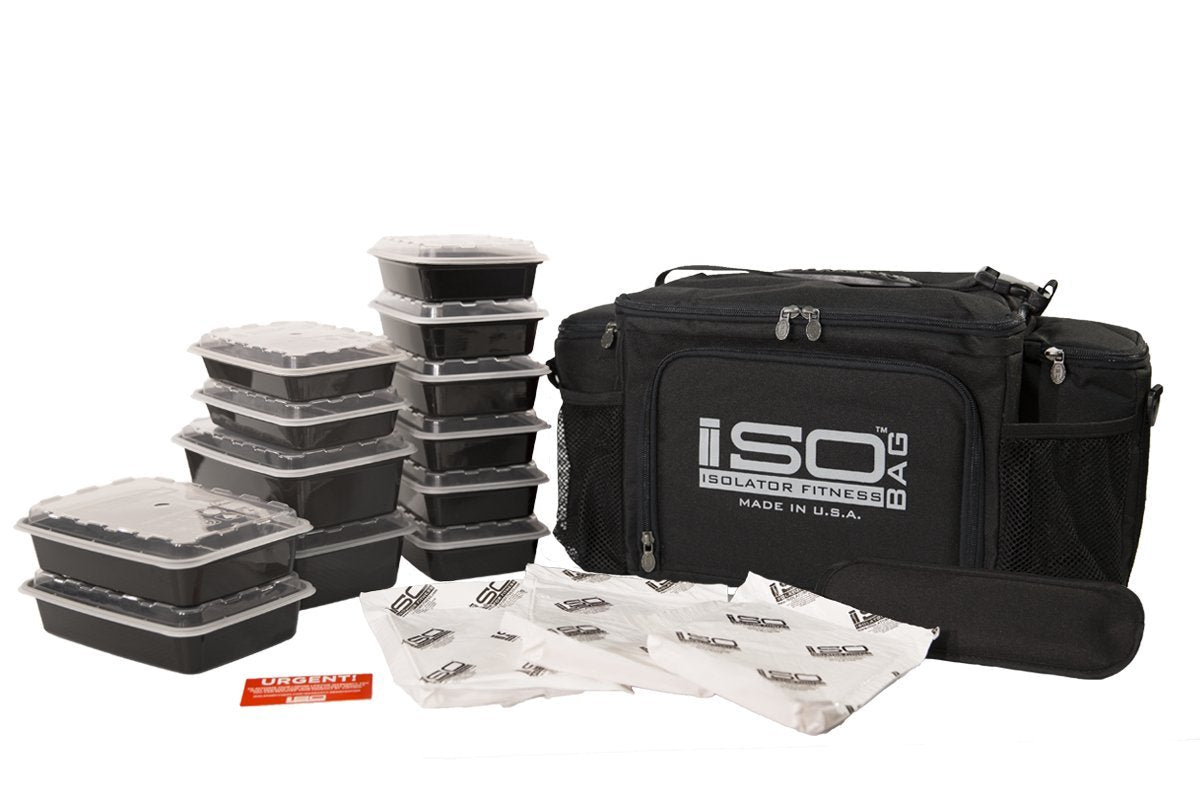 Isolator Fitness 6 Meal ISOBAG Meal Prep Management Insulated Lunch Bag Cooler with Stackable Meal Prep Containers, ISOBricks, and Strap - MADE IN USA (Black/Silver Accent)