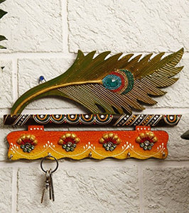 JaipurCrafts Beutiful Mor Pankhi Wooden Key Holder (9 x 6 IN)( Multi)