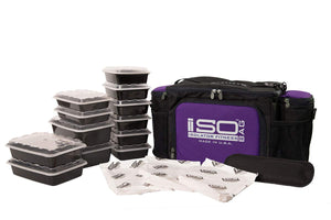 Isolator Fitness 6 Meal ISOBAG Meal Prep Management Insulated Lunch Bag Cooler with 12 Stackable Meal Prep Containers, 3 ISOBRICKS, and Shoulder Strap - MADE IN USA (Black/Purple Accent)