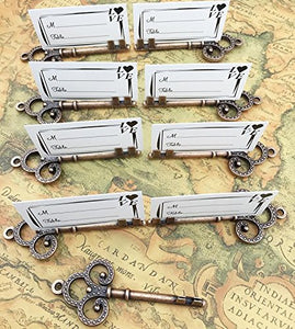 100pcs Antique Skeleton Key Shaped Wedding Favor Rustic Decoration Photo Holder Key to Your Heart