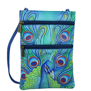 Anuschka Women's Leather Hand Painted Double Zip Travel Crossbody Bag, Jeweled Plume