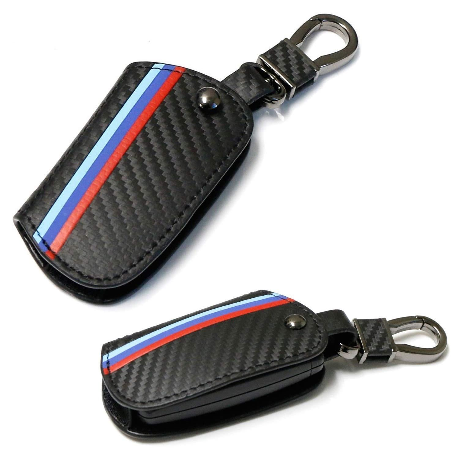M-Colored Stripe Black Carbon Fiber Finish Leather Key Holder with Keychain For BMW 1 2 3 4 5 6 7 Series X3 Remote Fob