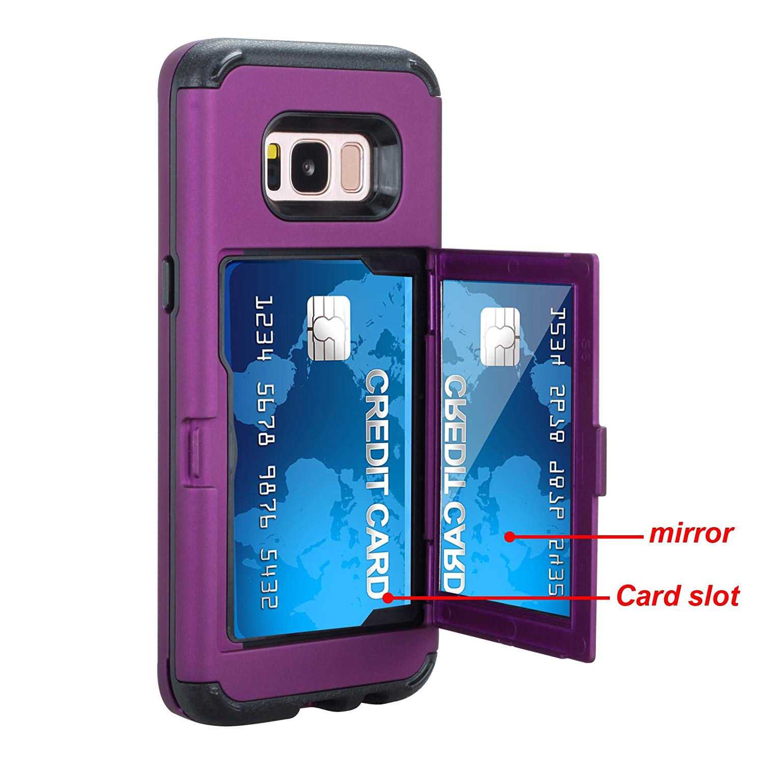 Galaxy S8 Plus Shockproof Case,Samsung Galaxy S8 Plus Case Hybrid Purple,Gostyle 3 in 1 Hard PC + Soft Rubber Heavy Duty Drop Protection Armor Protective Case with Wallet Card Holder and Makeup Mirror