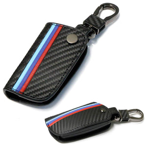 M-Colored Stripe Black Carbon Fiber Finish Leather Key Holder with Keychain For BMW Remote Fob (For Older 1 3 5 6 Series X5 X6 Z4)