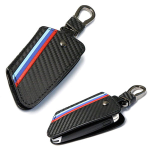 M-Colored Stripe Black Carbon Fiber Finish Leather Key Holder w/ Keychain For BMW 2016-up X1, 14-up X5, 15-up X6, 17-up 5 Series & 16-up 7 Series