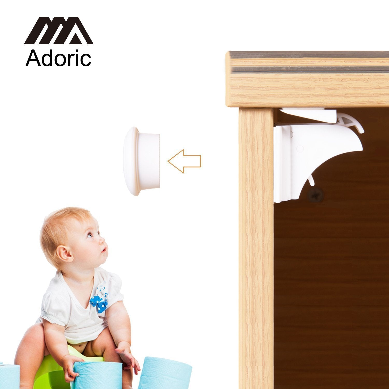 Adoric Magnetic Child Safety Cabinet Locks (6 Locks/2 Keys) with 3M Adhesive for Cabinets and Drawers
