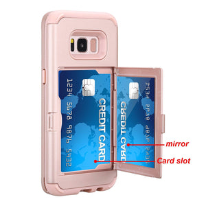 Galaxy S8 Plus Shockproof Case,Samsung Galaxy S8 Plus Case Rose Gold,Gostyle 3 in 1 Hard PC + Soft Rubber Heavy Duty Drop Protection Armor Protective Case with Wallet Card Holder and Makeup Mirror