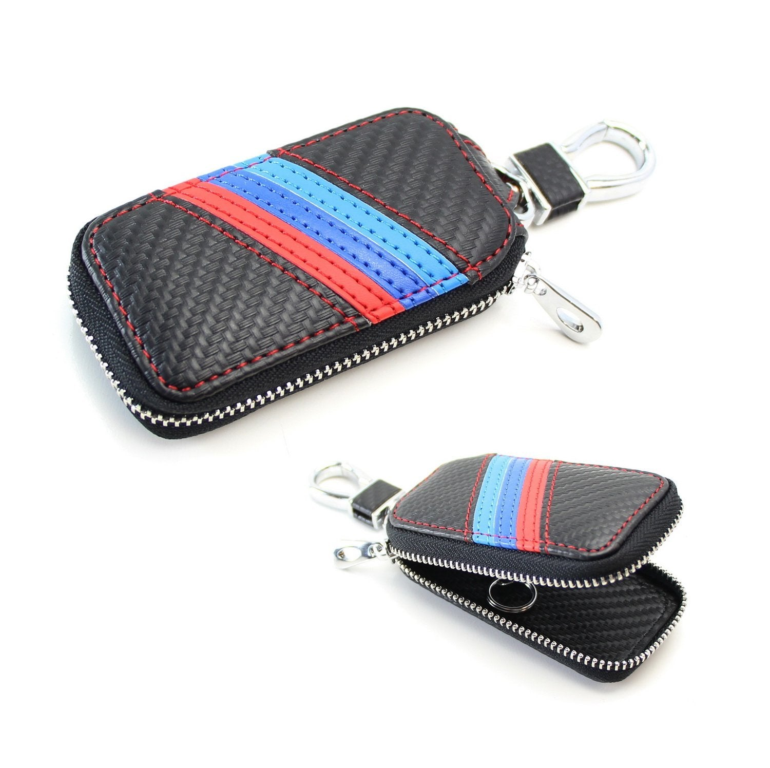 (1) M-Colored Stripe Carbon Fiber Finish Leather Key Holder Cover Wallet For BMW Fans