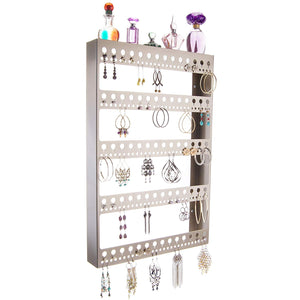 Angelynn's Large Earring Holder Organizer for Hoops, Wall Hanging Closet Jewelry Storage with Shelf, Nichole Satin Nickel Silver
