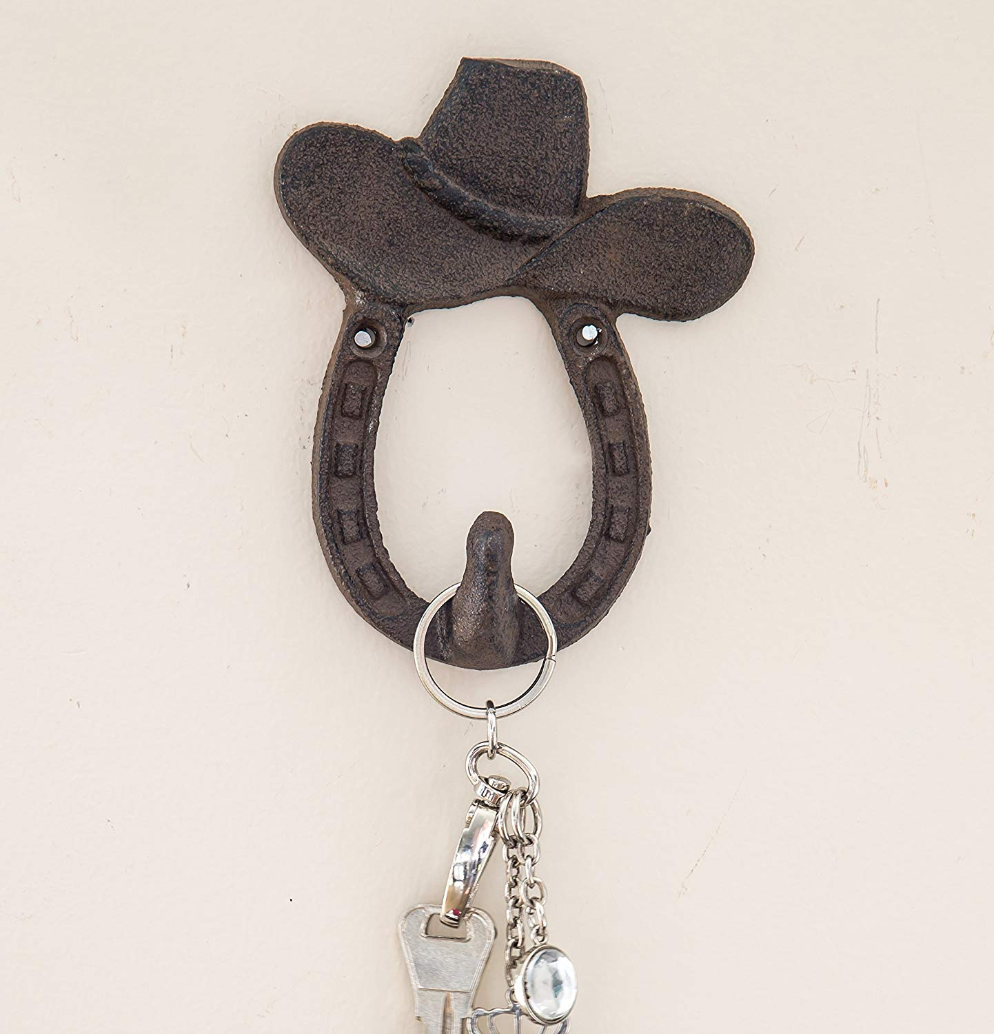 "Cast Iron Cowboy Hat and Horse Shoe Single Wall Hook/Hanger | Decorative Wall Mounted Coat Hook | Rustic Cast Iron | 3.9x1.2"" - With Screws And Anchors by Comfify CA-1504-04-BR"
