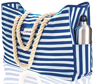 "Beach Bag XL. 100% Waterproof. L17""xH15""xW6"" w Cotton Rope Handles, Top Magnet Clasp, Two Outside Pockets. Blue Stripes Shoulder Beach Tote Includes Phone Case, Built-In Key Holder and Bottle Opener"
