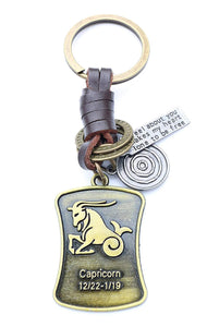 AuPra Capricorn Leather KeyRing Gift Women & Men Best Friend Home Goat...