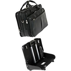 "McKlein R Series 8455 Roosevelt Leather 17"" Detachable-Wheeled Laptop Case"
