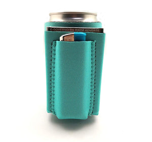 Beer Can Chuggie With Two Pockets - Holds Cigarette And Lighter, Phone, Keys, 3mm Neoprene (American Flag Pattern) (Teal, 1 Pack)