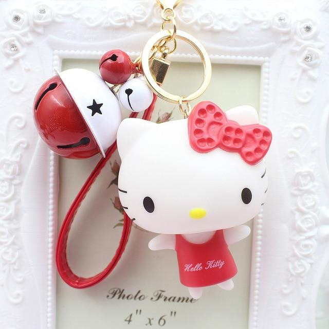 Cute Cartoon Pvc Cat Hello Kitty Doll Keychain Leather Rope Key Holder Metal Bell Key Chain Keyring Charm Bag Auto Pendant Gifts