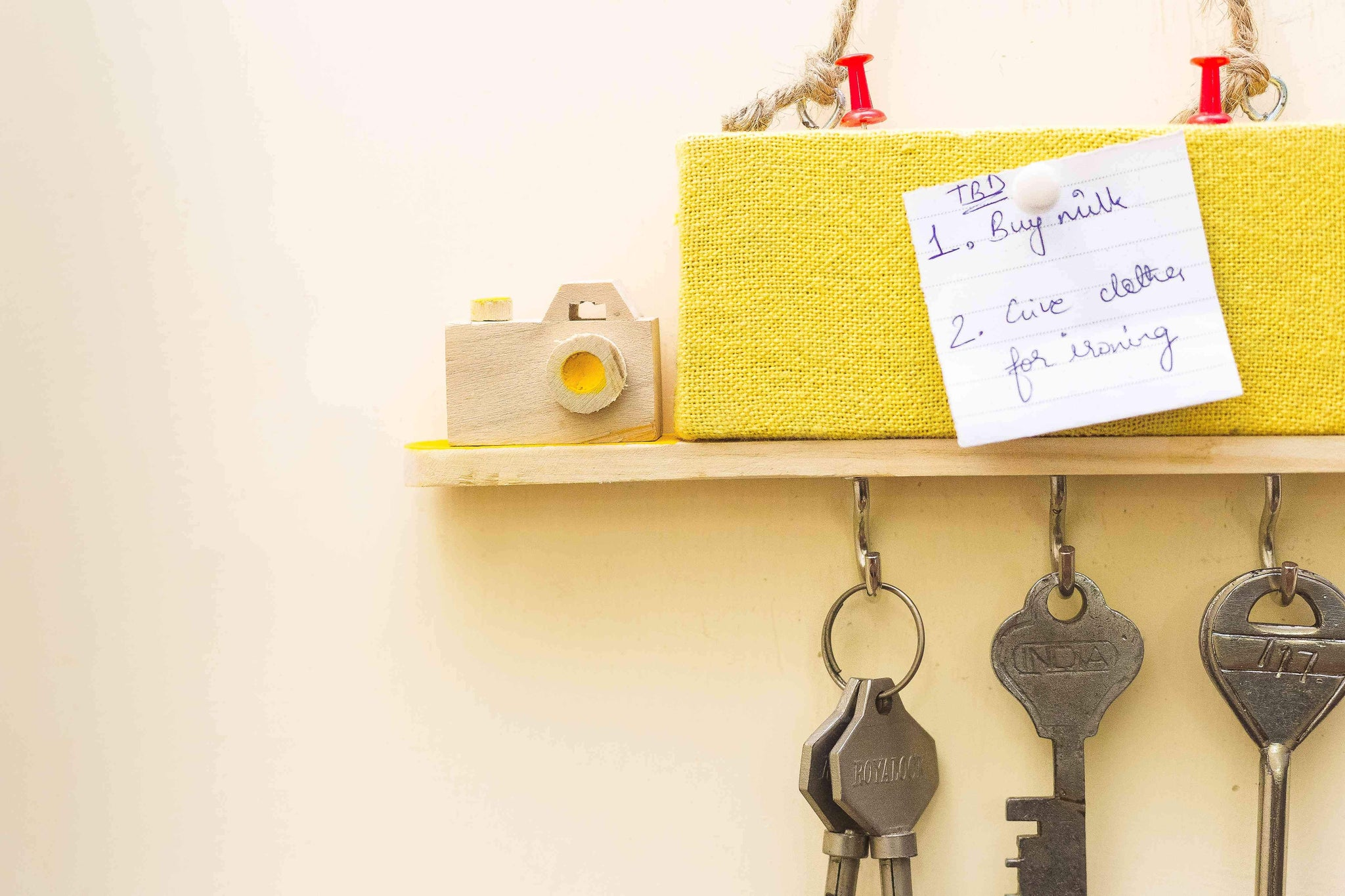 Wooden Key Holders with a Pin Board- Yellow Camera