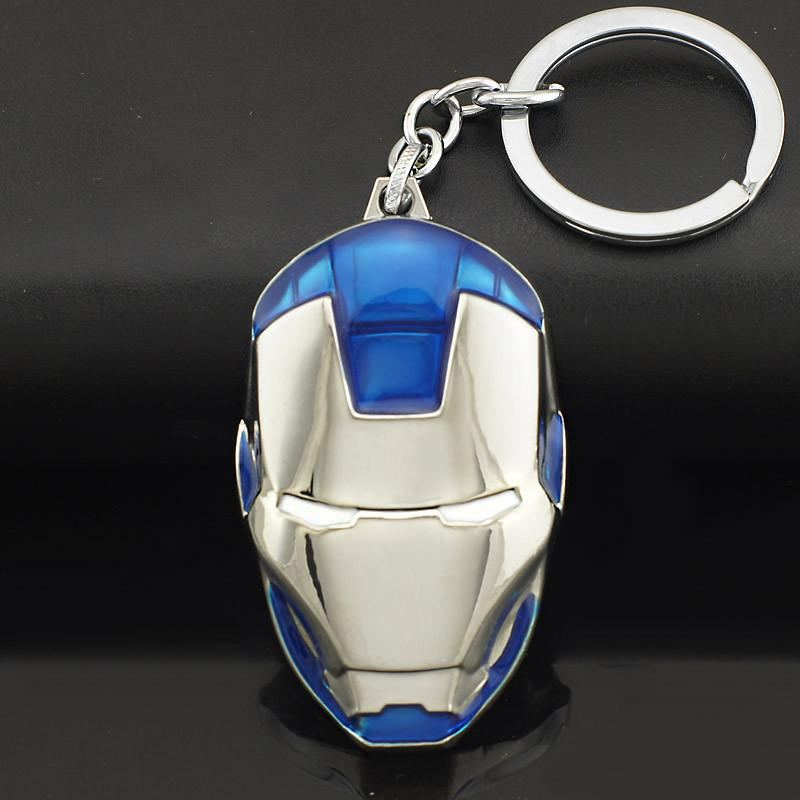 Marvel Comics Super Hero Avengers Iron Man Mask Metal KeyRings Key Chains Purse Bag Buckle Key Holder Accessories Gift