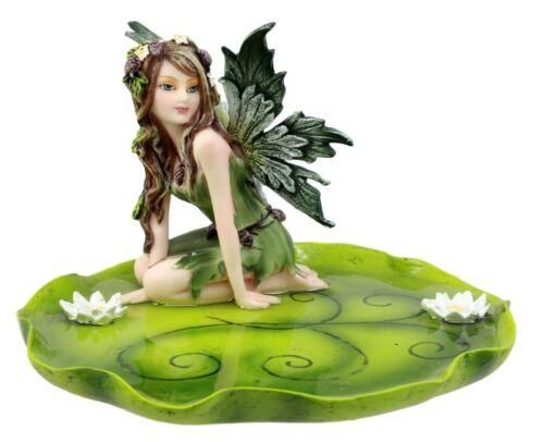 "Ebros Gift Green Absinthe Fairy Kneeling On Lotus Petal Soap Dish Figurine Jewelry Dish Plate Vanity Decor 6.25"" Long"