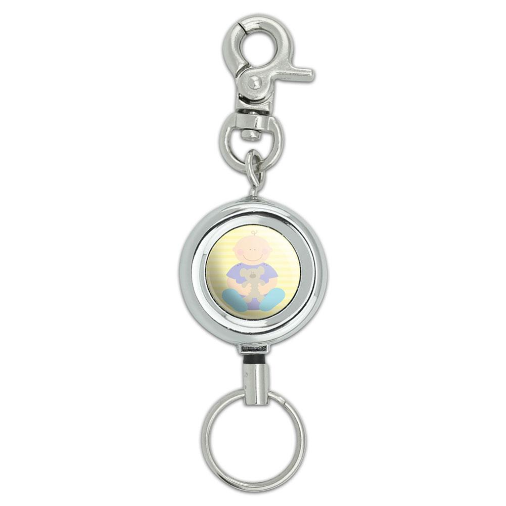 Baby With Teddy Bear Lanyard Belt ID Badge Key Retractable Reel Holder