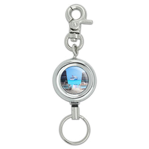 Beach Chair Cruise Ship Caribbean Ocean ID Badge Key Retractable Reel Holder