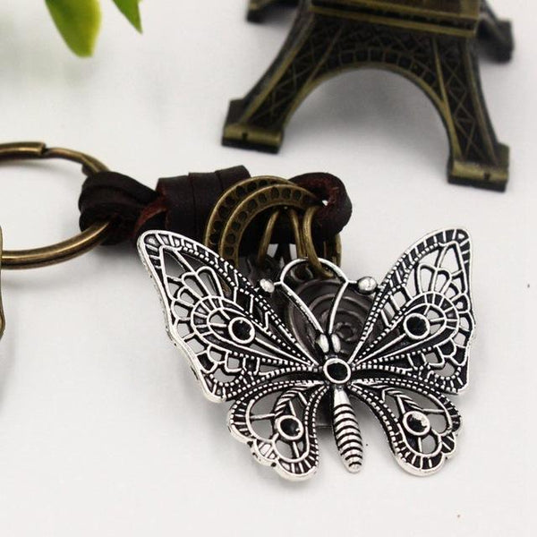 4.8*3.8CM Original 3D Hollow Elephant Key Chains Punk Vintage Genuine Leather Handmade