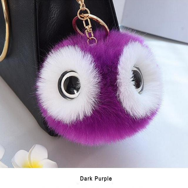 13CM Charm Fluffy Pompom Animal Owl Key Chain Ring Pendant Pom Pom Faux Rabbit Fur Ball Car Handbag