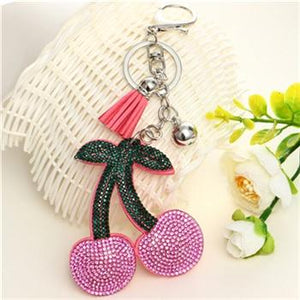 Fashion Pu Leather Tassel Strawberry Key Chain Key Ring New Jewelry For Women Bag Pendant Car Key Holder Keychain Accessories