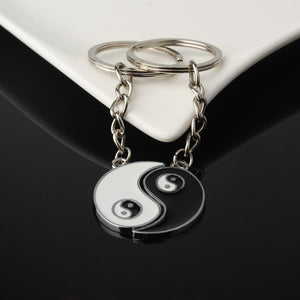 1Set Chineae Style Yin Yang Keychain Keyring For Lover's Men Women Jewelry Silver Plated Enamel Key Holder Keyring Best Friend