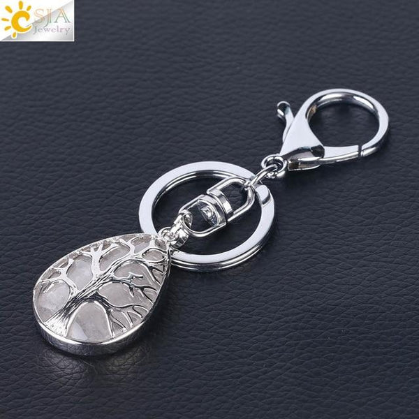 CSJA Fashion Water Drop Keychains Key Ring Key Holder Reiki Natural Gem Stone Tree of Life Pendant for Car Motorcycle Bag F400