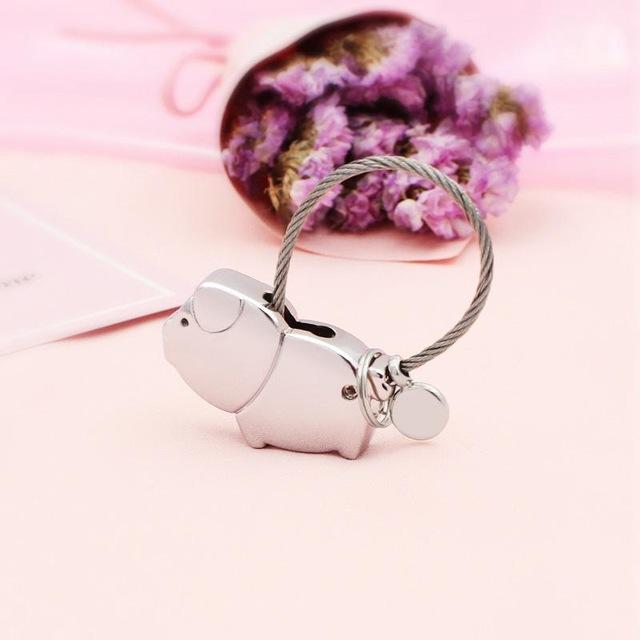 Mp Metal Animal Alloy Pig Couple Keychain Wire Rope Key Ring Key Holder Car Couples Gift Souvenir Auto Pendant Gifts Porte Clef