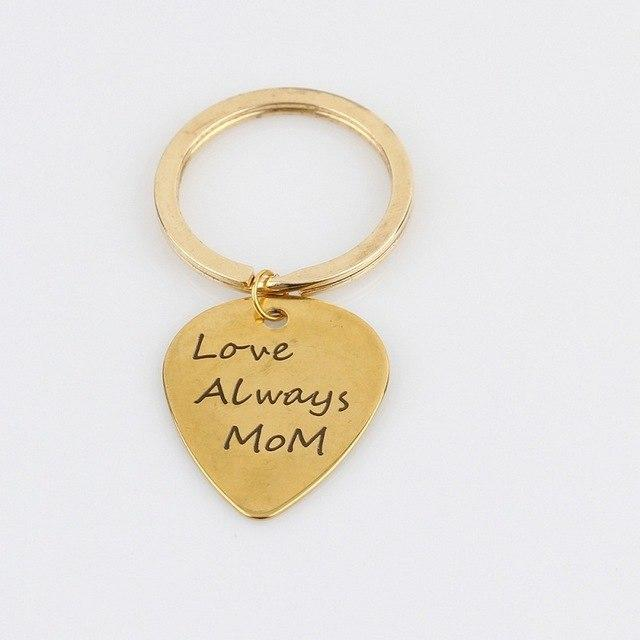 """Love Always MOM"" Letter Key Chain Heart Guitar Picks Keychain Personality Car Keyring Key Holder for Mother's Day Gifts"