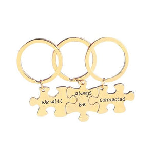 we will always be connected keychains 3 bff key chains gift for Best Friend soul mate forever mothers day Gift car key holder