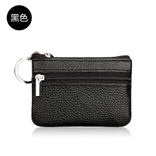 1 Pc Women's Leather Coin Purses Small Change Money Bags Pocket Wallets Key Holder Case Mini Functional Pouch Zipper Card Wallet